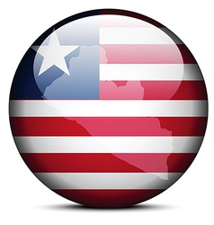 Map on flag button of liberia vector