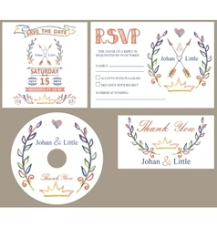 Vintage wedding design template secolored doodles vector
