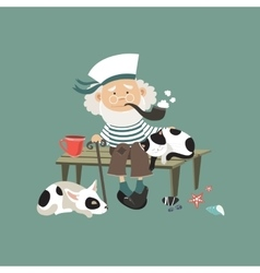 Old sailor sitting on bench with cat and dog vector image