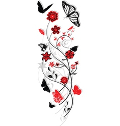 Floral ornament with butterflies vector
