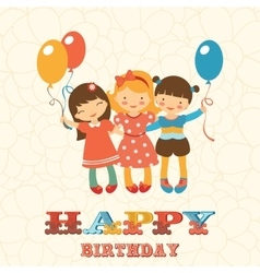 Happy birthday card with happy jumping kids vector image