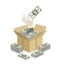 Box of money in hand vector