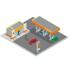 Gas station petrol station refilling shopping vector