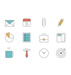 Office and business outline icons vector
