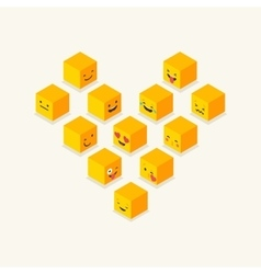 Isometric love heart symbol emoticons icons vector