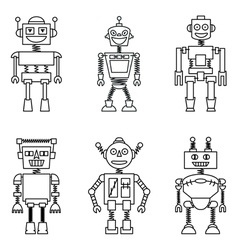 Retro smart robots set vector
