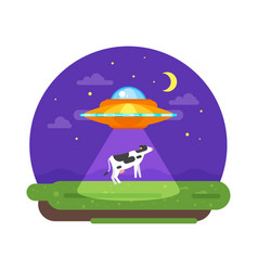 Alien ship truing to abduct a cow at night vector