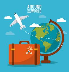 Around the world globe world plane suitcase sky vector