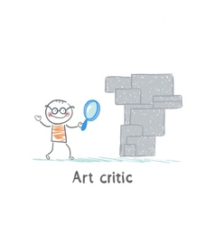 Art critic looks at the work of art through a vector