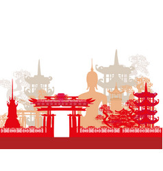 buddha and asian landscape vector image vector image