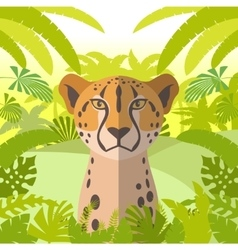 Cheetah on the jungle background vector
