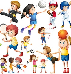 Children doing different kind of sports vector image vector image