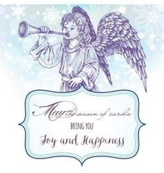 Christmas angel greeting card with frame for text vector