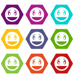 confused emoticon set color hexahedron vector image vector image