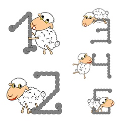 Design numbers set with funny cartoon sheep vector