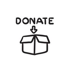 Donation box sketch icon vector