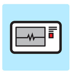 Flat color electrocardiogram icon vector