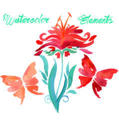 floral watercolored graphic elements vector image vector image