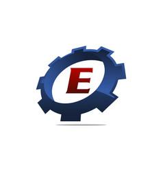 Gear logo letter e vector