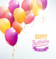 Happy birthday with balloon card vector image vector image