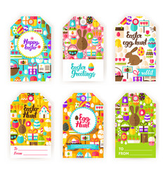 Easter gift tag set with royalty free vector image happy easter gift tag labels vector image negle Image collections