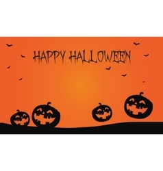 Happy halloween pumpkins and bat backgrounds vector