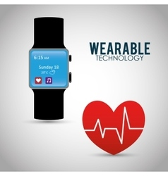 Heart beat wearable technology watch device vector