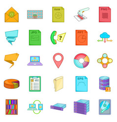 Information icons set cartoon style vector