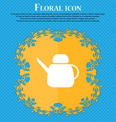 Kettle icon sign floral flat design on a blue vector