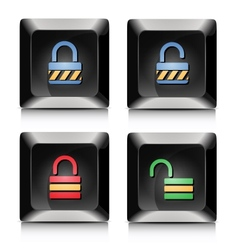 Lock unlock elegant black buttons vector image