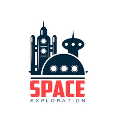 logo with abstract image of cosmic station space vector image vector image