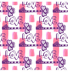 Love key pattern on seamless painting texture vector