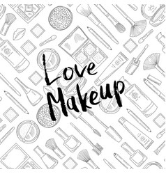 monochrome background with love makeup vector image