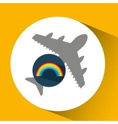 Plane travel weather forecast rainbow icon vector
