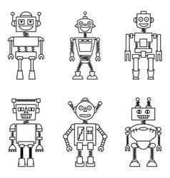 Retro smart robots set vector image vector image