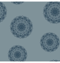 Seamless grey-blue floral pattern vector image