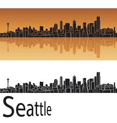 Seattle skyline in orange background vector image vector image