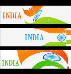 set of indian flag headers vector image vector image