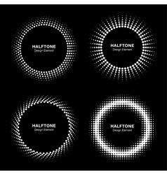 Set of white abstract halftone circles logo vector