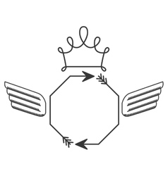 Silhouette with octagon arrows and wings and crown vector