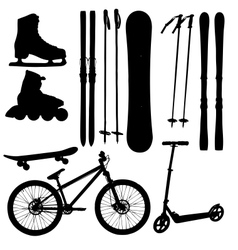 Sports equipment silhouette vector
