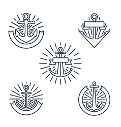 Vintage anchors linear logo set or line nautical vector image vector image