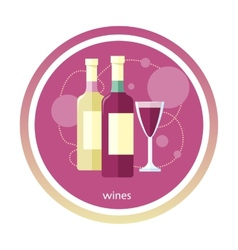 Wine glass and bottle vector image vector image