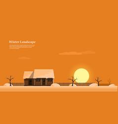 winter sunset landscape vector image