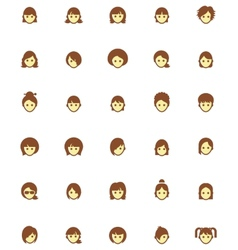 women faces icon set vector image