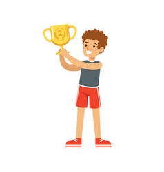 Young athletes boy holding winner cup kid vector