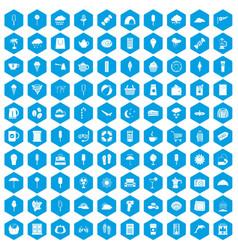 100 ice cream icons set blue vector