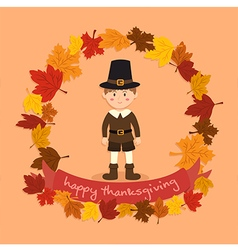 Circle Autumn Leaf Thanksgiving Boy vector image