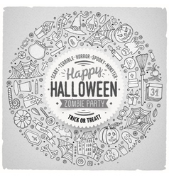 Round frame halloween cartoon objects symbols and vector
