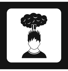 Cloud over man head icon simple style vector